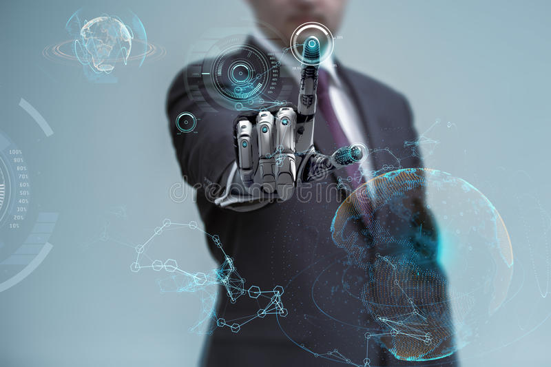 Businessman operating virtual hud interface and manipulating elements with robotic hand. Blue holographic screen artificial design concept stock illustration