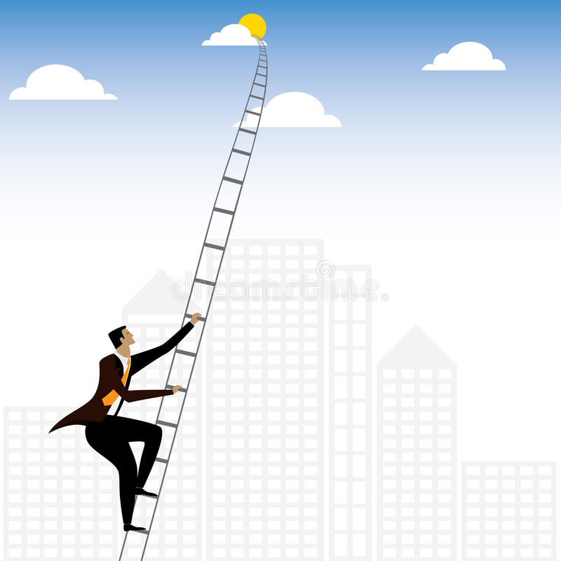 Free Businessman Or Executive Climbing Stairs To Sky - Vector Graphic Stock Image - 72539731