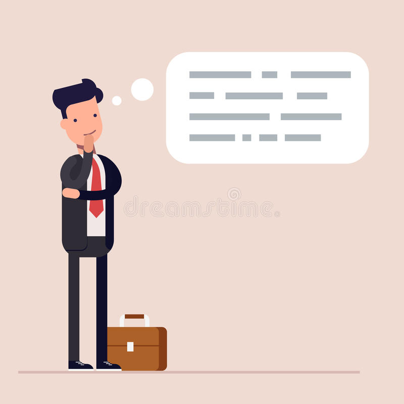 Free Businessman Or Manager Thinks. Abstract Text In Speech Bubble. Concept Of The Thought Process. Flat Characte In Cartoon Royalty Free Stock Photos - 90072598
