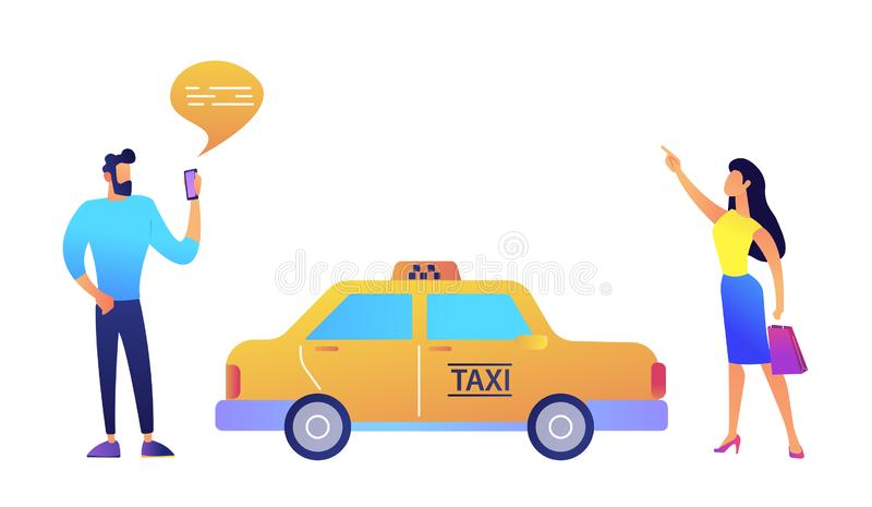 Businessman ordering a taxi from smartphone and businesswoman catching it vector illustration. vector illustration