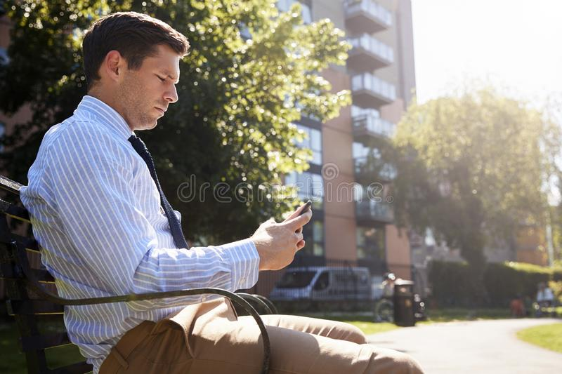 Businessman Outdoors Using Mobile Phone On Lunch Break In Park royalty free stock images