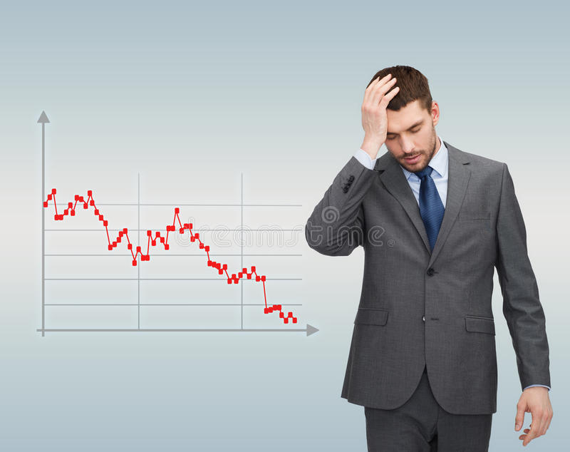 Businessman over forex graph going down. Business, bankruptcy, people and stress concept - unhappy businessman over gray background and forex graph going down royalty free illustration