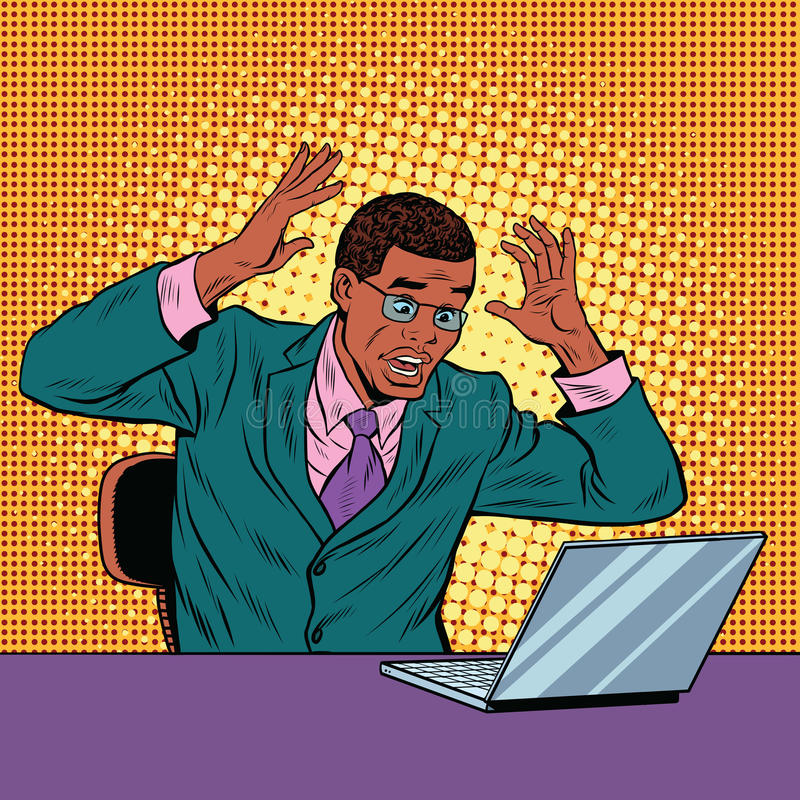 Businessman in panic, reading notebook royalty free illustration