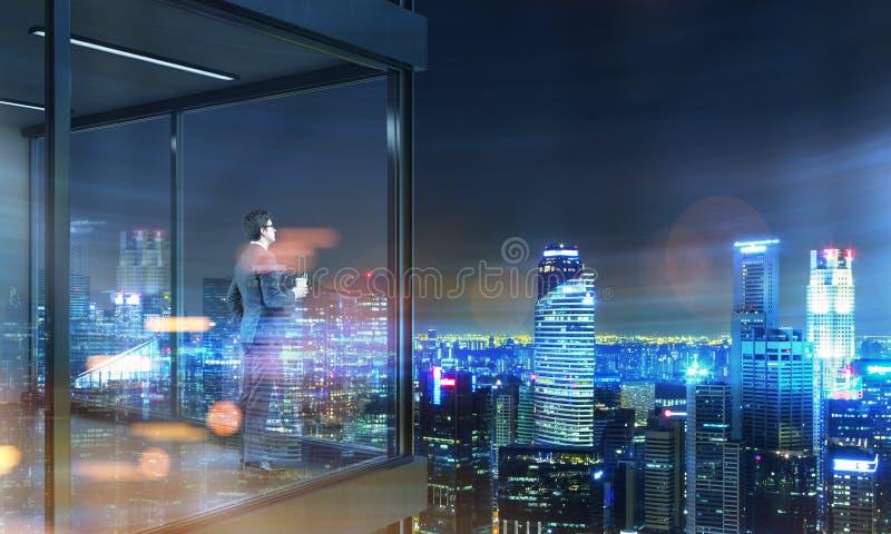 Businessman on panoramic balcony night royalty free illustration