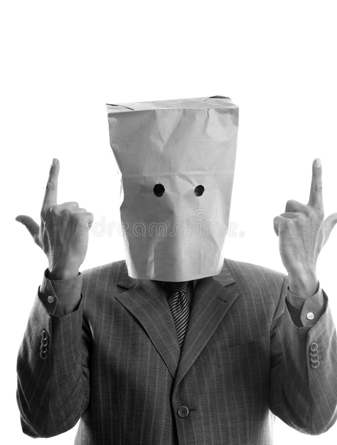 Businessman with paper bag in head royalty free stock photos