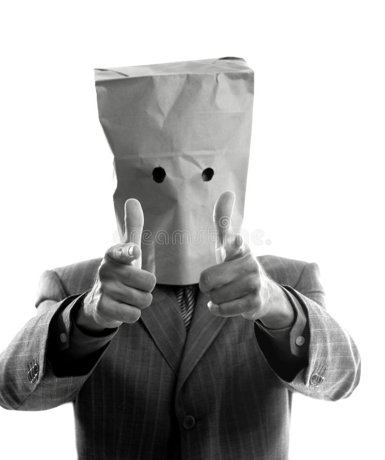 Businessman with paper bag in head stock photos
