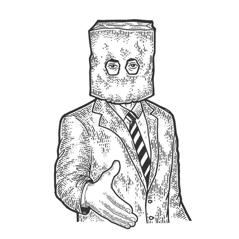 Businessman paper bag lend hand for handshake royalty free illustration