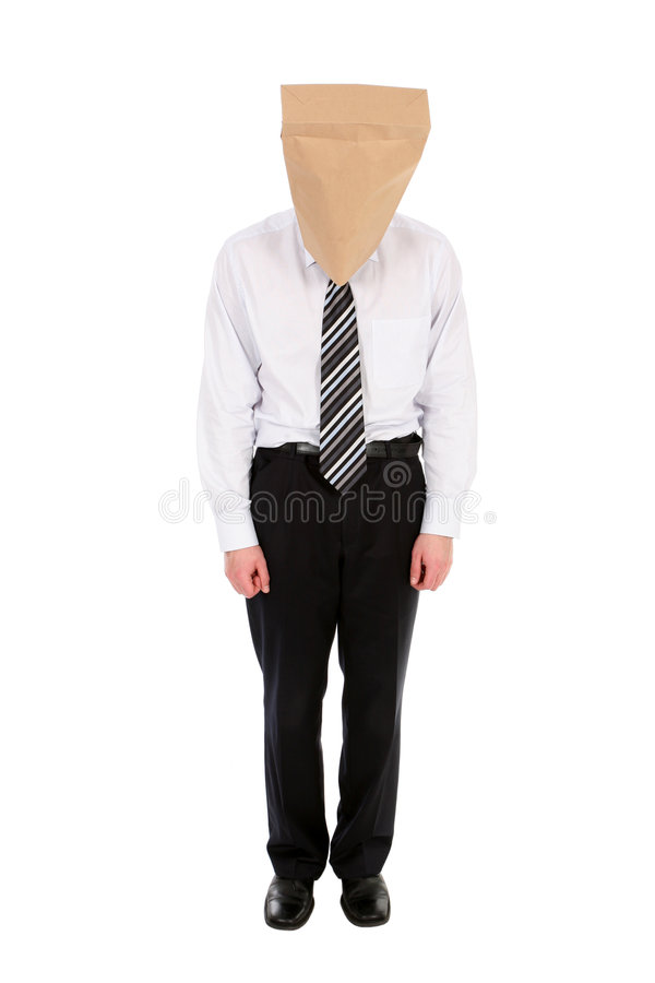 Download Businessman With Paper Bag Over Head Stock Image - Image: 4787469