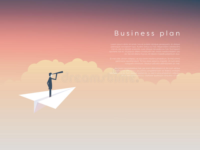 Businessman on a paper plane as symbol of business leadership, vision, strategy, plan. stock illustration