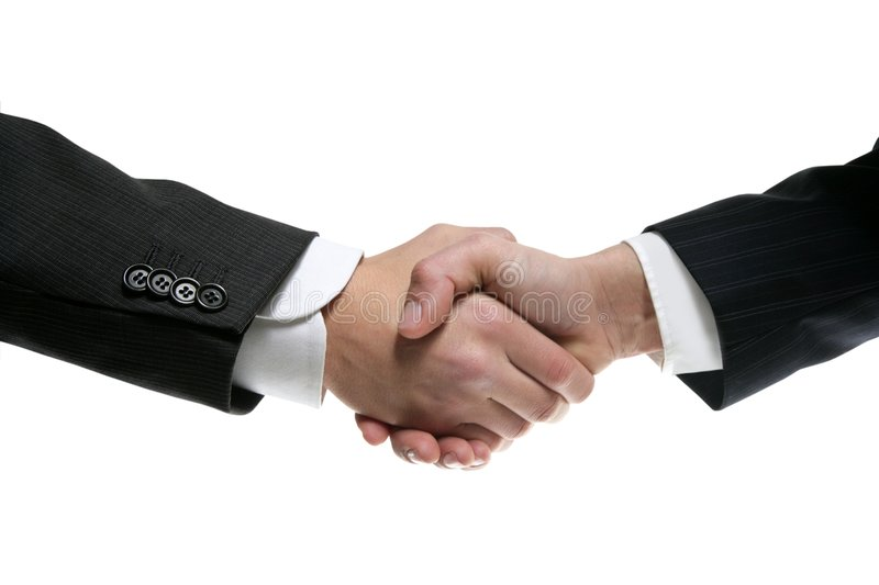 Businessman partners shaking hands with suit stock images