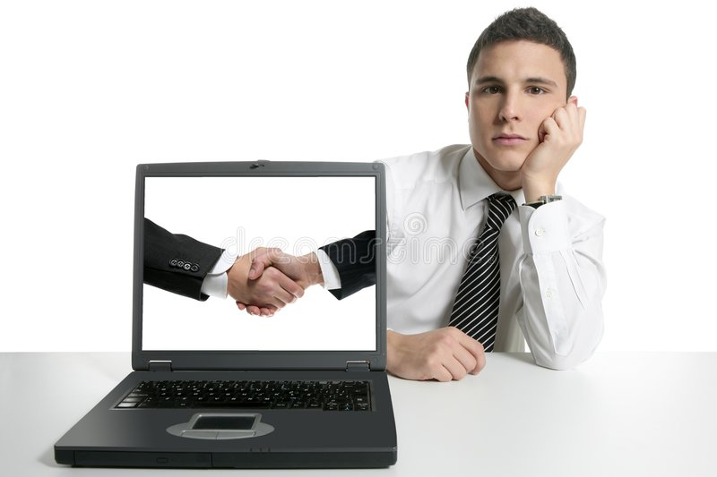 Businessman partners shaking hands with suit royalty free stock photography