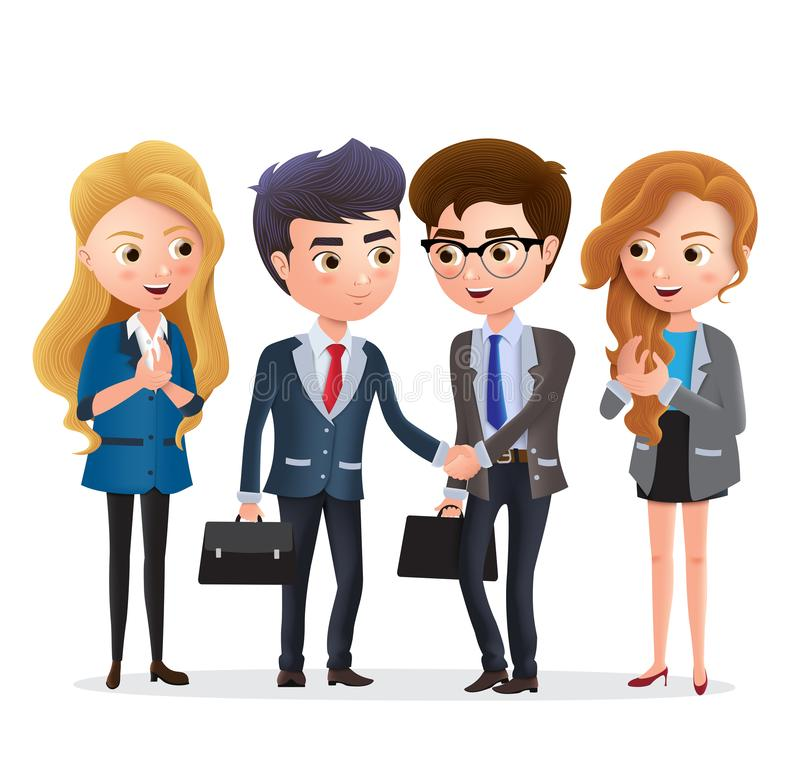 Businessman partnership vector characters. Business partner character with deal agreement and handshake. Businessman partnership vector characters. Business royalty free illustration