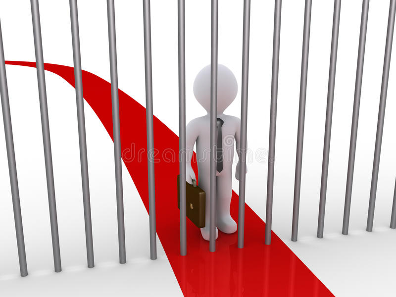 Download Businessman Path Is Blocked By Metal Bars Stock Illustration - Illustration: 34046809