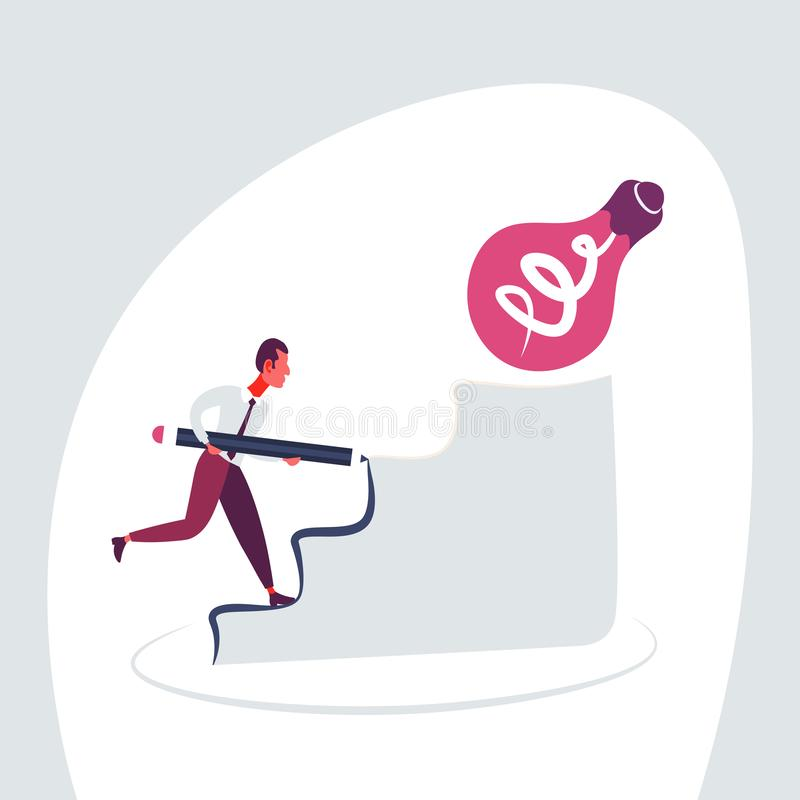 Businessman pave the way climbing podium light lamp new idea business strategy innovation concept hardworking process. Flat vector illustration vector illustration