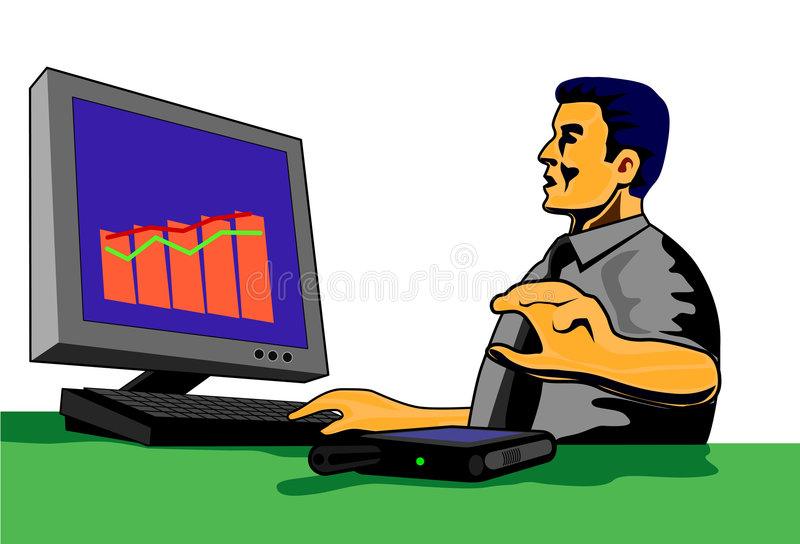 Businessman with pc royalty free illustration