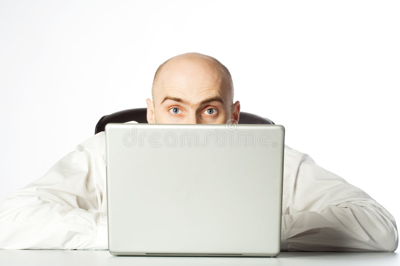 Download Businessman Peaking Over Top Stock Image - Image of interest, eyebrows: 2107157