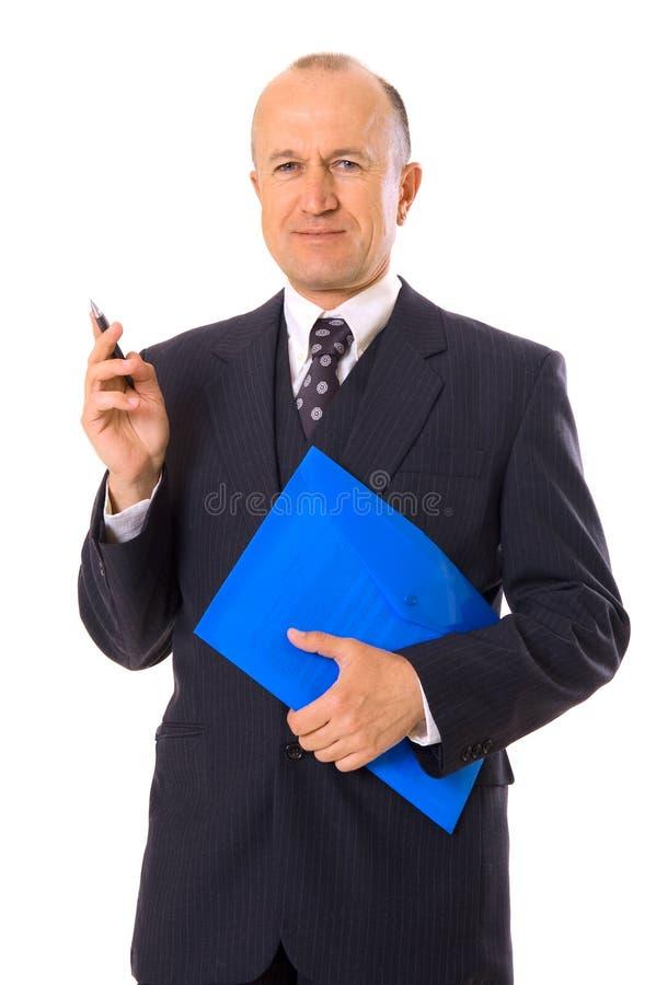 Businessman with pen and folder stock photos