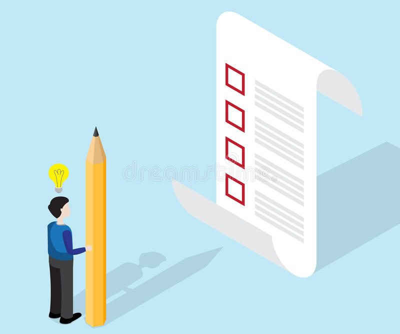 Businessman with pencil and checklist isometric vector illustration