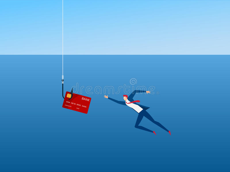 Businessman and phishing hook credit card. Thief Hacker steal your data credit card and money. Dangerous finance situation. stock illustration
