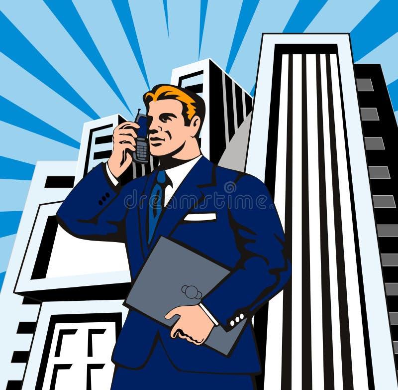 Businessman on the phone vector illustration