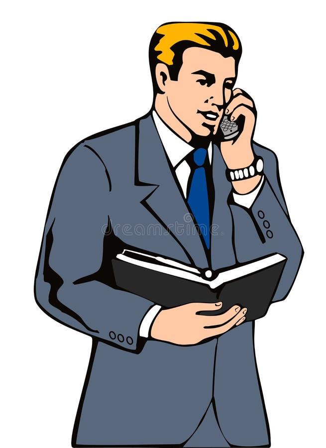 Businessman on the phone royalty free illustration