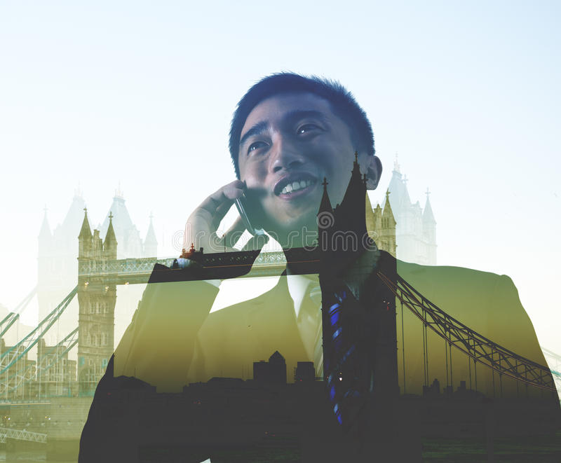 Businessman On The Phone Business Trip London Concept stock photo