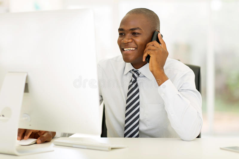 Businessman phone call stock image