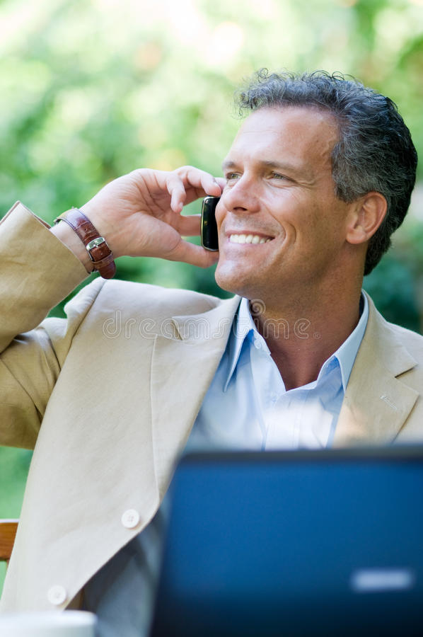 Businessman On The Phone Outdoor Stock Image