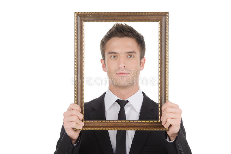 Businessman in picture frame. stock photos