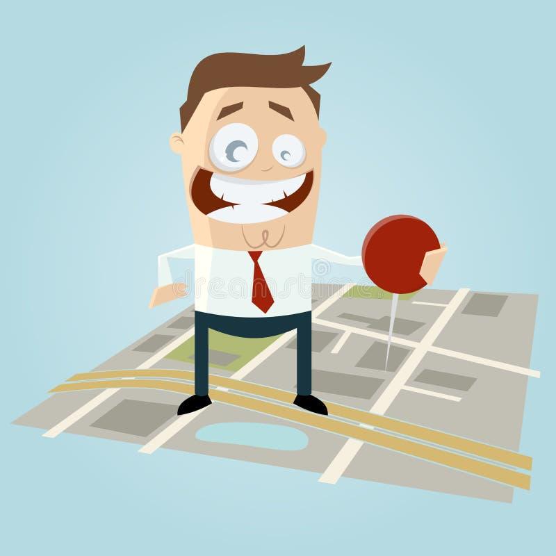 Businessman with pin on city map. Illustration of a businessman with pin on city map royalty free illustration