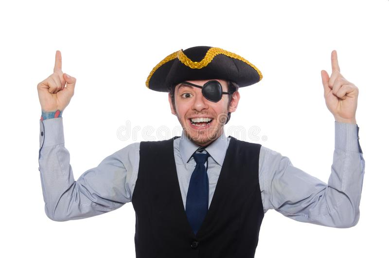 Businessman pirate isolated on white background stock photography