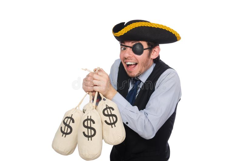 Businessman pirate isolated on white background royalty free stock photography