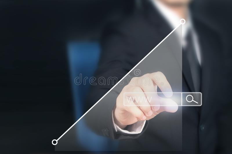Businessman plan graph growth and increase of chart positive ind. Icators in his business royalty free stock photography