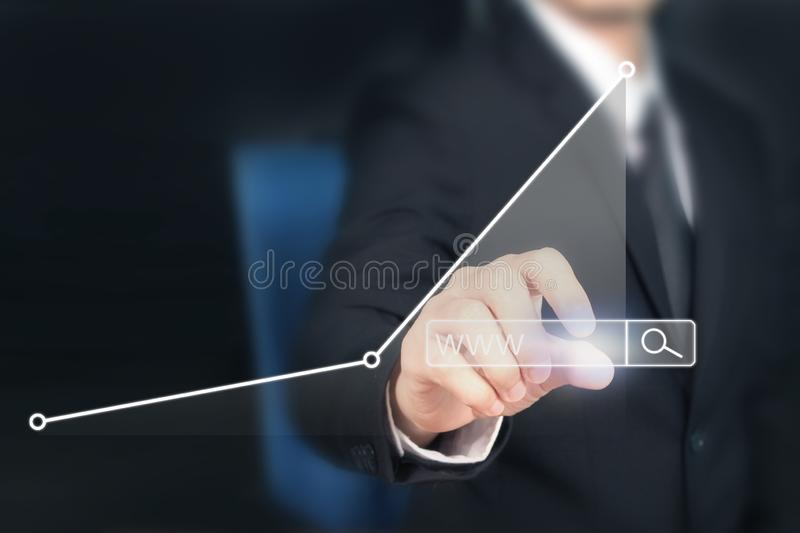 Businessman plan graph growth and increase of chart positive ind. Icators in his business royalty free stock photos