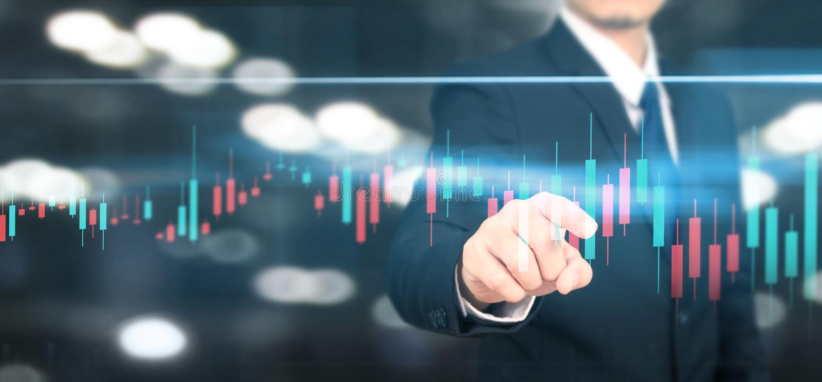 Businessman plan graph growth and increase of chart positive indicators i. N his business stock image