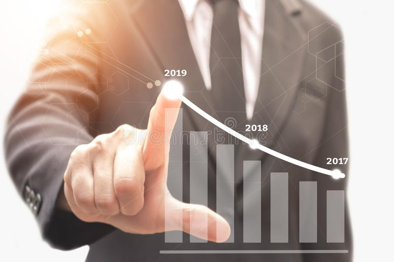 Businessman plan growth in 2019 year. Businessman plan growth in 2019 year and increase of positive indicators in his business royalty free stock image