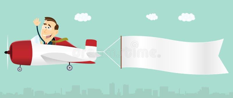 Businessman Plane Advertisement Banner. Illustration of a cartoon businessman inside plane advertisement banner for your communication stock illustration