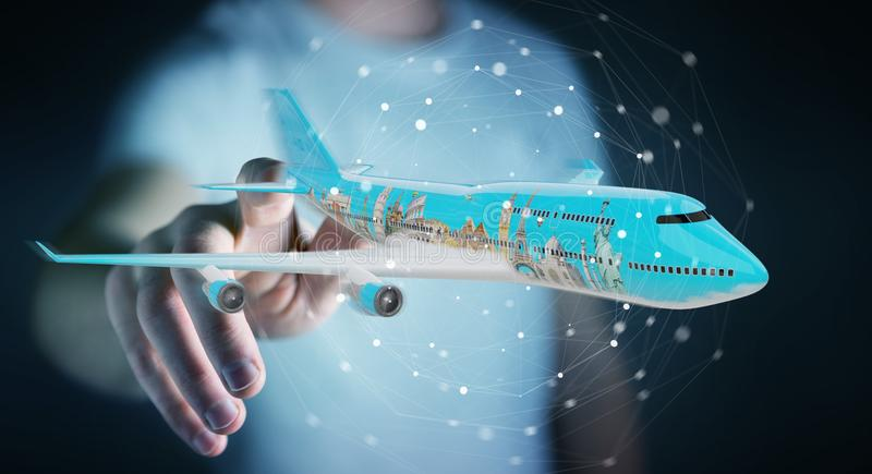 Businessman with plane and famous landmarks of the world 3D rend vector illustration