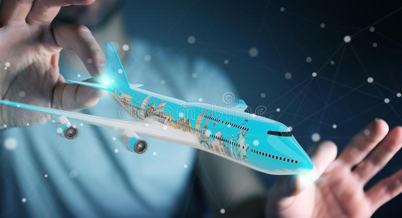 Businessman with plane and famous landmarks of the world 3D rend stock illustration