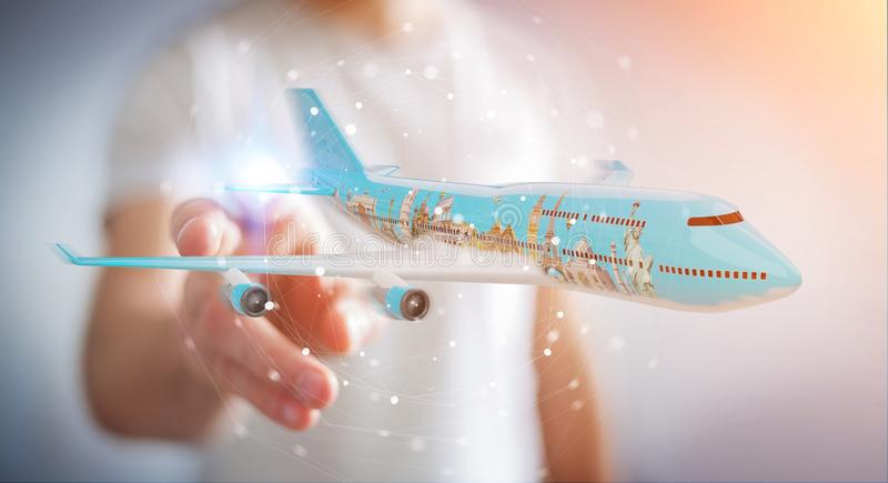 Businessman with plane and famous landmarks of the world 3D rend royalty free illustration