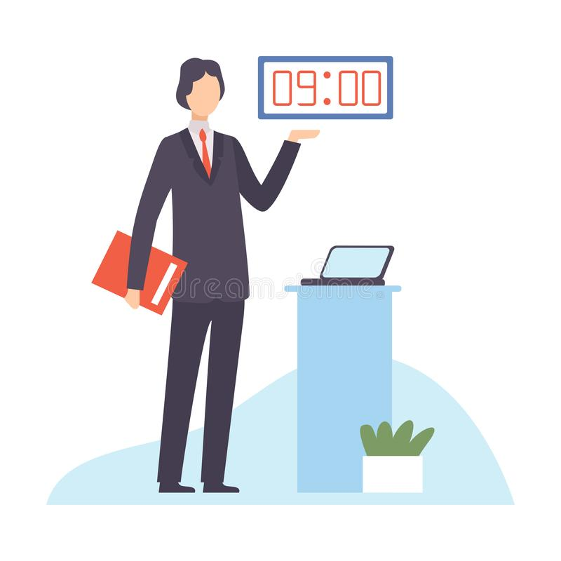 Businessman Planning and Controlling His Working Time, Efficient Time Management Business Concept Flat Vector royalty free illustration