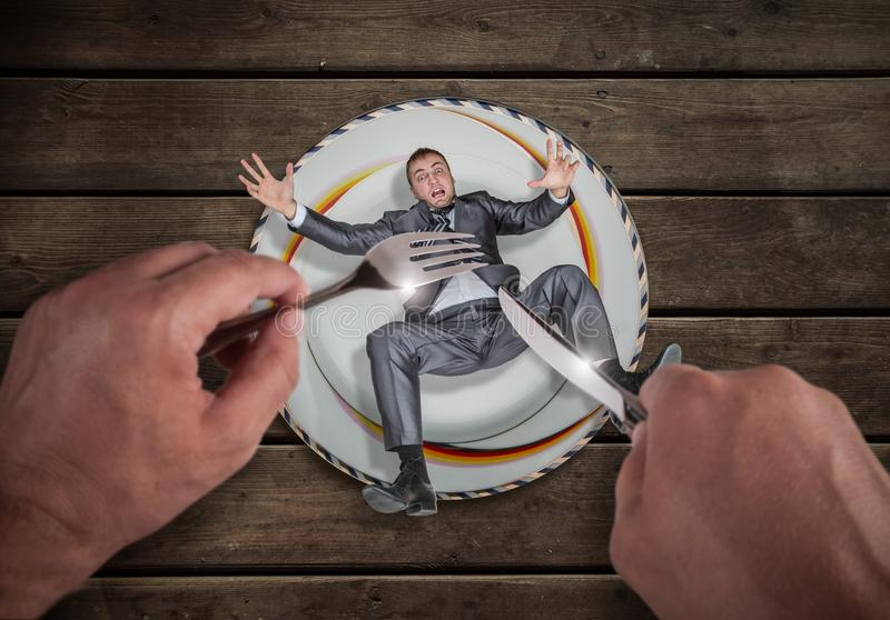 Businessman on a plate, small business problem royalty free stock images