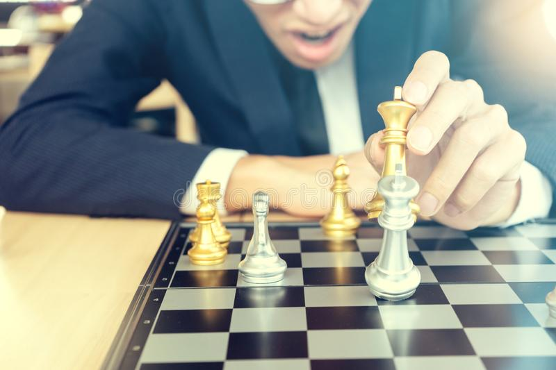 Businessman play chess how  to crash royalty free stock photography