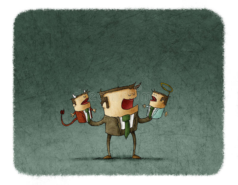 Businessman playing with angel and demon puppets stock illustration