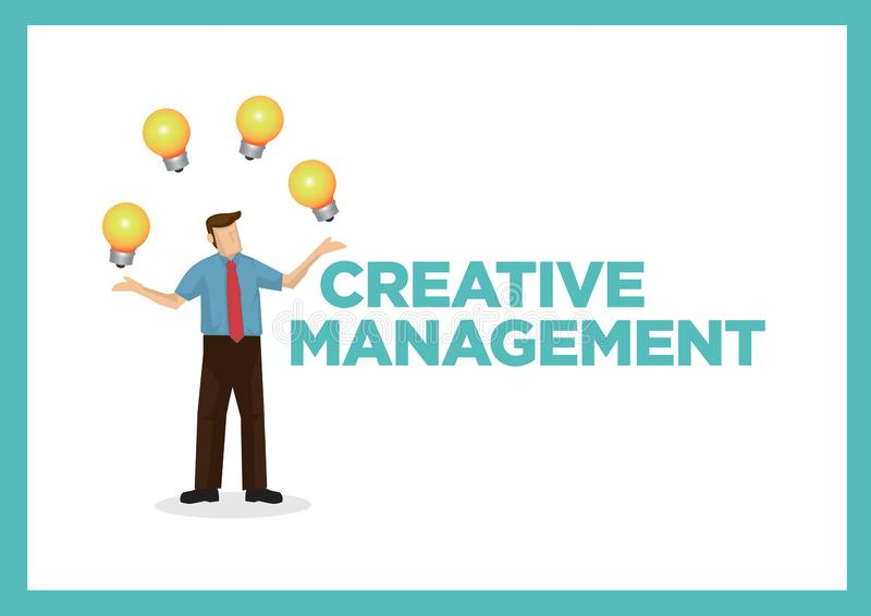 Businessman playing with a number of light bulbs with the text Creative Management. Concept of creative management, corporate idea. Development and innovation stock illustration
