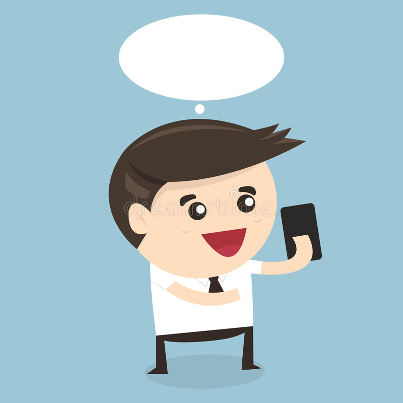 Businessman playing with phone, flat design stock illustration