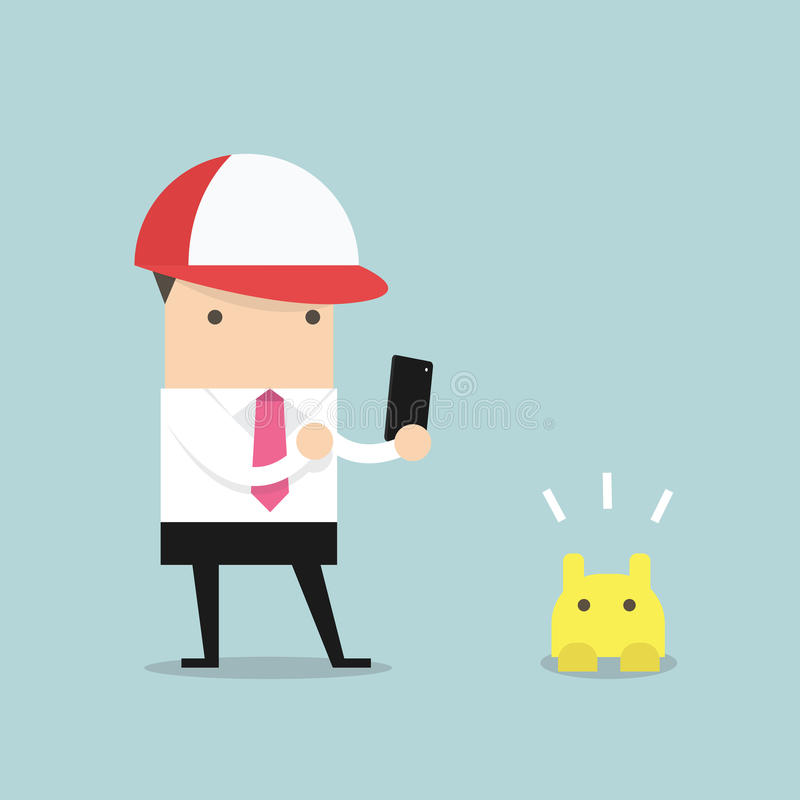 Businessman playing smartphone. vector stock illustration