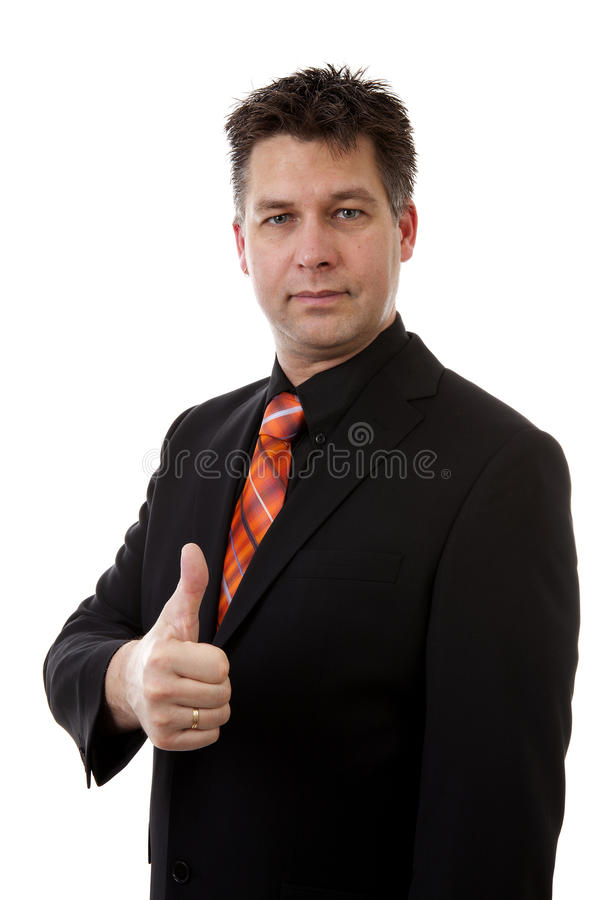 businessman is pleased with thumbs up isolated on white background stock photography