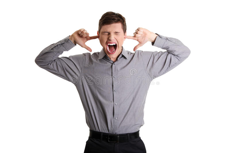 Download Businessman Plugging Her Ears Royalty Free Stock Photography - Image: 22280907