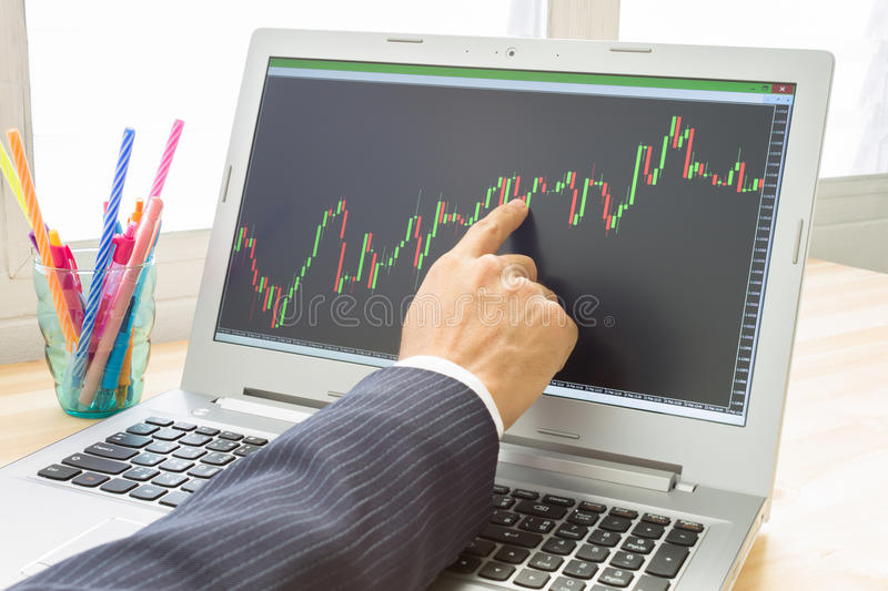 Businessman Point and Analyze Forex Graph or Stock Graph by Right Finger. Businessman is pointing stock graph or forex graph . Technical analysis forex or stock stock photography